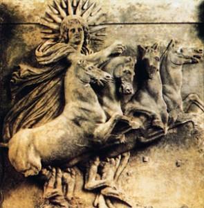 Скульптура с мраморного рельефа квадриги Аполлона, бога Солнца. Рельеф, относящийся к IV-II векам до н.э. был найден Шлиманом при раскопках Трои.