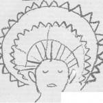 м_харнер_ Золотой ореол вокруг головы шаманом-хиваро, находящегося в измененном состоянии сознания. Нарисовано другим шаманом-хиваро.